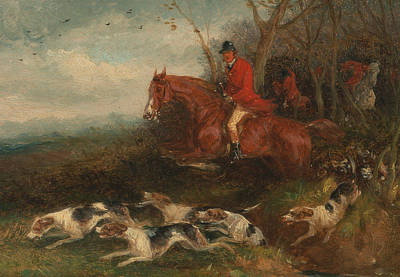 Painting - Foxhunting - Breaking Cover by William J Shayer