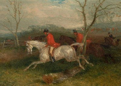 Painting - Foxhunting - Coming To A Fence by William J Shayer