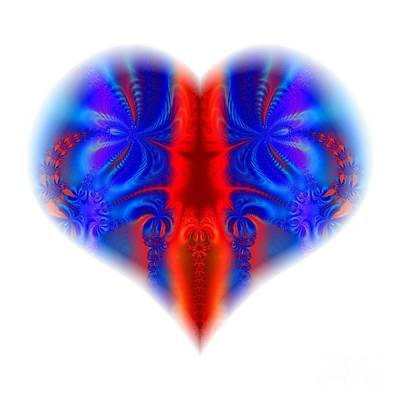 Digital Art - Fractal Abstract Heart Broken And Blue A Dagger Through The Heart by Rose Santuci-Sofranko