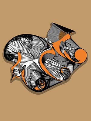 Digital Art - Fractal Art With Shadow by Cathy Harper