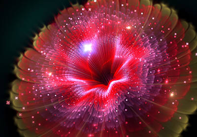 Digital Art - Fractal Beauty Flower Red by Lilia D