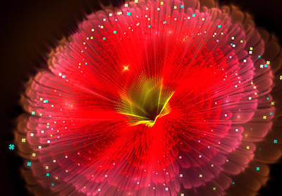 Digital Art - Fractal Flower Red 21 by Lilia D