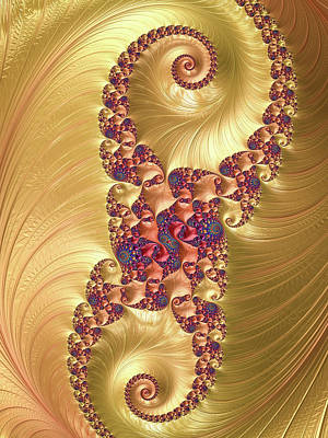 Photograph - Fractal Spiral Gold Red And Blue Vertical by Matthias Hauser