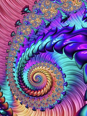 Digital Art - Fractal Spiral Purple Turquoise Red by Matthias Hauser