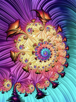 Digital Art - Fractal Spiral With Amazing Colors Vertical by Matthias Hauser