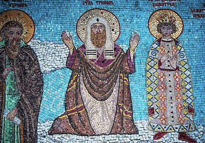 Modern Man Surf - Fragment Of Mosaic With Saints In Tolga Monastery 1 by Jenny Rainbow