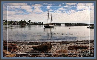 Photograph - Framed Cobwork Bridge Bailey Island Maine by Sandra Huston