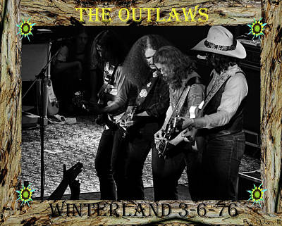 Photograph - Framed Outlaws At Winterland #1 With Text by Ben Upham