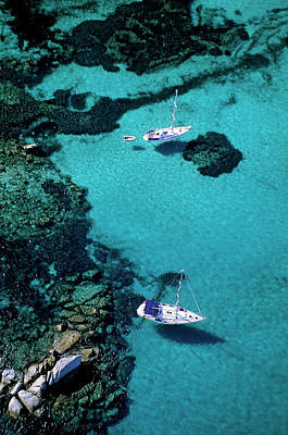 Blue Photograph - France, Corse Du Sud, Boats Anchored In by Rieger Bertrand / Hemis.fr