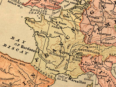 Topography Wall Art - Photograph - France Map by Belterz