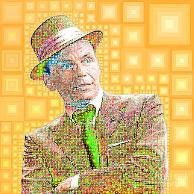 Photograph - Frank Sinatra Old Blue Eyes In Abstract Squares 20190218 M180 by Wingsdomain Art and Photography