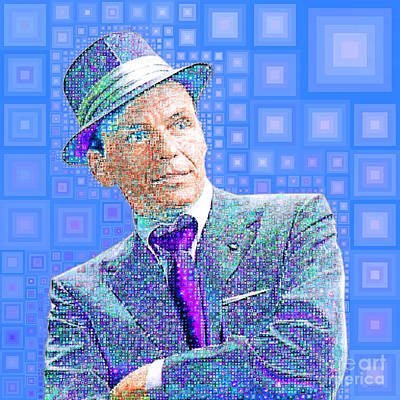 Photograph - Frank Sinatra Old Blue Eyes In Abstract Squares 20190218 by Wingsdomain Art and Photography