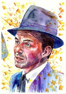 Frank Sinatra Wall Art - Painting - Frank Sinatra Singing by Suzann's Art