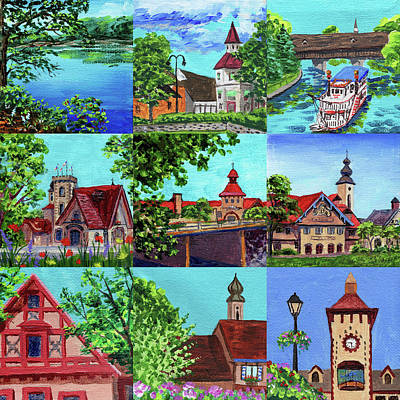 Painting - Frankenmuth Downtown Michigan Painting Collage II by Irina Sztukowski