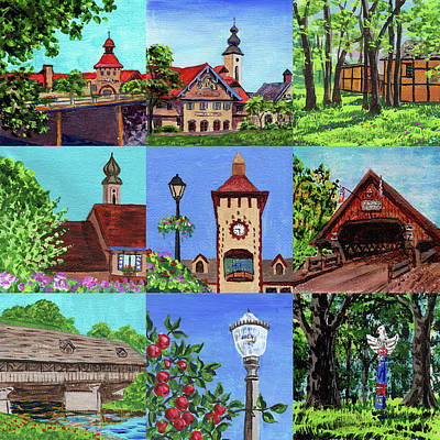 Painting - Frankenmuth Downtown Michigan Painting Collage Iv by Irina Sztukowski