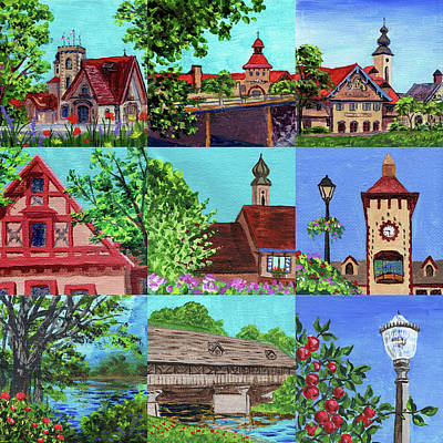 Royalty-Free and Rights-Managed Images - Frankenmuth Downtown Michigan Painting Collage V by Irina Sztukowski