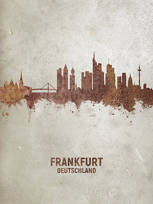 Digital Art - Frankfurt Germany Rust Skyline by Michael Tompsett