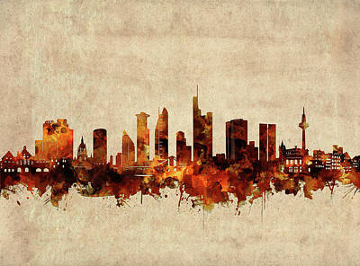 Abstract Skyline Royalty-Free and Rights-Managed Images - Frankfurt Skyline Sepia by Bekim M