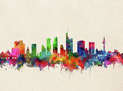 Abstract Skyline Royalty-Free and Rights-Managed Images - Frankfurt Skyline Watercolor by Bekim M