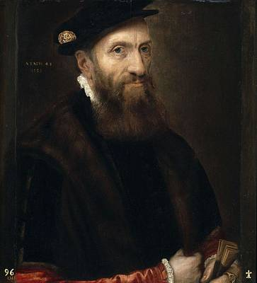 Painting - Frans Floris - Portrait Of A 48-year Old Man  1555  by Frans Floris