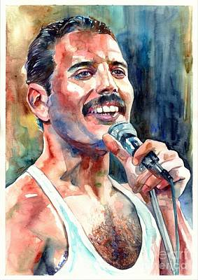 Phoenix Wall Art - Painting - Freddie Mercury Live Aid by Suzann's Art