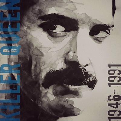 Freddie Mercury Wall Art - Mixed Media - Freddie Mercury - Retro - Tee Shirt  by Paul Lovering