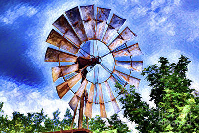Photograph - Fredericksburg Tx Farm Windmill 18a-2 by Ray Shrewsberry
