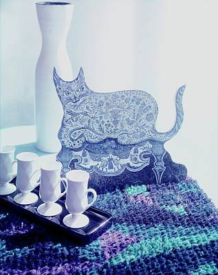 Photograph - Frederico Pallavicini Cat And Cups by Horst P. Horst