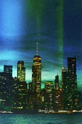 Mixed Media - Freedom Tower Skyline by Susan Maxwell Schmidt