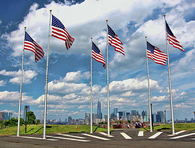 Photograph - Freedom Tower Through The American Flags by Allen Beatty