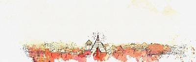 Landmarks Painting Royalty Free Images - Freiberg roofs -  watercolor by Ahmet Asar Royalty-Free Image by Ahmet Asar