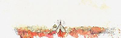 Landmarks Painting Royalty Free Images - Freiberg roofs -  watercolor by Ahmet Asar Royalty-Free Image by Celestial Images