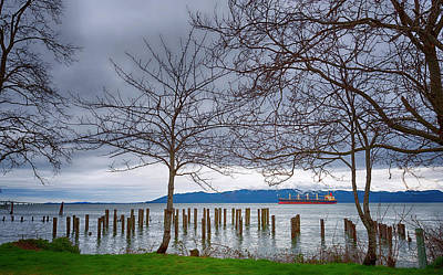 Photograph - Freighter On The Columbia by Dee Browning