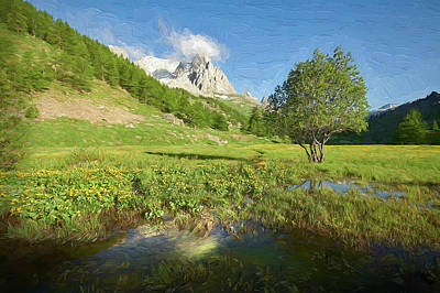 Digital Art - French Alps Valley II by Jon Glaser