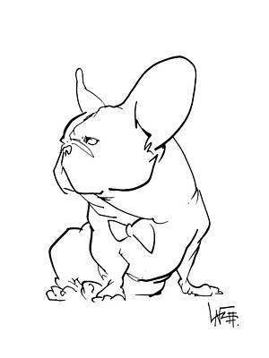 Ink Drawing Drawing - French Bulldog Gesture Sketch by John LaFree