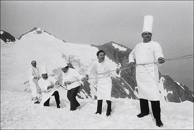 Human Interest Photograph - French Chefs At L Alpe D Huez In 1983 by Laurent Maous
