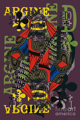 Digital Art - French Playing Card, Argine, Dame De Trefles, Queen Of Clovers, Pop Art - #2 by Jean luc Comperat