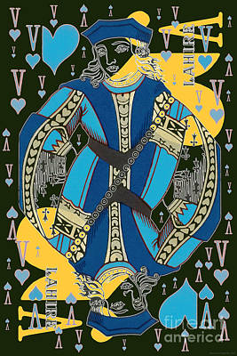 Digital Art - French Playing Card - Lahire, Valet De Coeur, Jack Of Hearts Pop Art - #1  by Jean luc Comperat