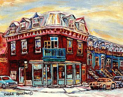 Painting - Fresh Bread Slice Pizza Peloponissos Bakery Corner Napoleon And Debullion C Spandau Montreal Stores by Carole Spandau