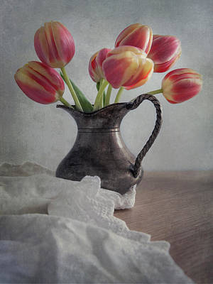 Photograph - Fresh Red Tulips by Jaroslaw Blaminsky