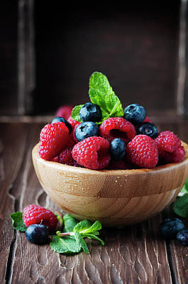 Fresh Sweet Raspberry And Bluberry Art Print by Oxana Denezhkina