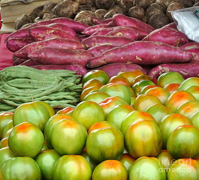 Photograph - Fresh Tomatoes, Broad Beans And Sweet Potatoes by Yali Shi