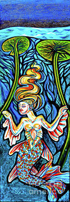 Animals Paintings - Freshwater Mermaid With Water Lilies At Night by Genevieve Esson