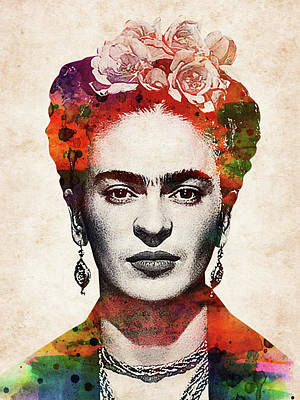 Digital Art Rights Managed Images - Frida Kahlo colorful watercolor portrait Royalty-Free Image by Mihaela Pater