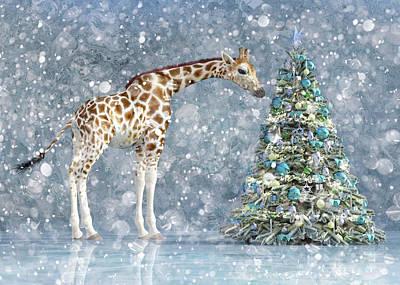 Animals Digital Art - Friendly Giraffe Holidays by Betsy Knapp