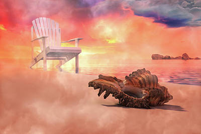 Beach Royalty-Free and Rights-Managed Images - Friends by the Sea 3D Render by Betsy Knapp