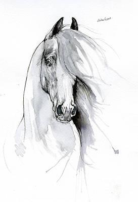 Animals Drawings - Friesian horse 2019 09 06 by Angel Ciesniarska