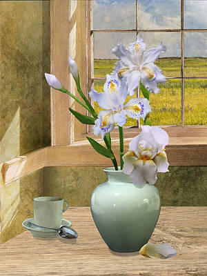 Digital Art - Fringed Irises by M Spadecaller