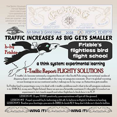 Digital Art - Frizbie's Flighty T-traffic Solutions by Dawn Sperry