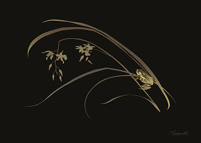 Digital Art - Frog And Orchid by M Spadecaller